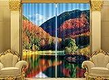 H&M Gardinen Vorhang Herbst Maple Canyon ein warmer Schatten Tuch UV-Druck 3D dekoriert Schlafzimmerfenster Vorhänge fertig , wide 2.03x high 1.6