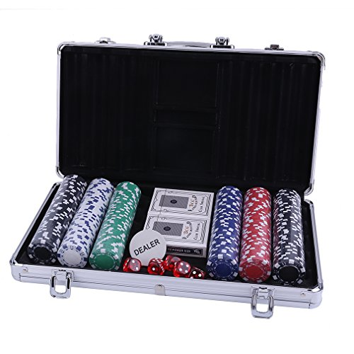Ultimate Pokerset mit 300 hochwertigen 2x Pokerdecks, Alu Pokerkoffer, 5x Würfel, 1 x Dealer Button, Poker, Set, Pokerchips, Koffer, Jetons
