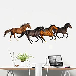 Rawpockets The Horse Family' Wall Sticker (PVC Vinyl, 90 cm x 30cm), Multicolour