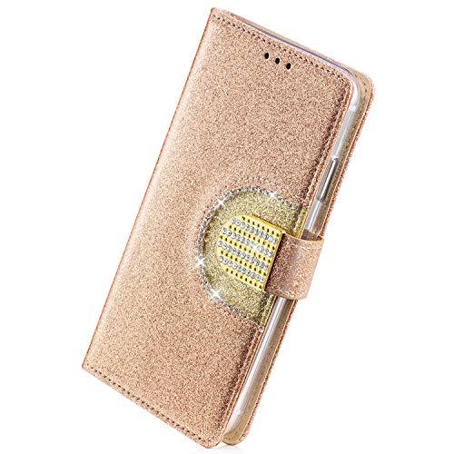 Herbests Kompatibel mit Samsung Galaxy A8 2018 Handy Hülle Lederhülle Handytasche Bling Glänzend Glitzer Kristall Strass Diamant Flip Case Cover Leder Tasche Bookstyle Klapphülle,Gold