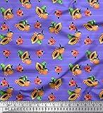 Soimoi Lila Poly Krepp Stoff Streifen, und Papaya Obst