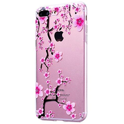 HB-Int Handytasche für iPhone 7 Plus Silikon Back Hülle Transparent Schutzhülle 3D Blumen Muster mit Lanyard Loch Flexible Case TPU Bumper Protective Shell Plum Blume Baum