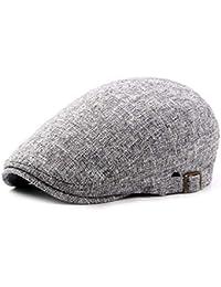 27295038336 CHENNUO Vintage Cotton Linen Flat Cap Mens Beret Cabbie Hat Ivy Newsboy Cap  Driving Hat