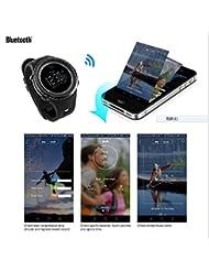 Sunroad® fr803Bluetooth deporte reloj digital reloj hombres impermeable al aire libre altímetro brújula luz de fondo apoyo Android 4.0y Apple iOS 7.0