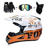 LTongx Moto Motocross Casques & Gants & Goggles D. O. T Standard Enfants Quad Bike VTT Go Karting Casque,White/Orange,S(52~53cm)