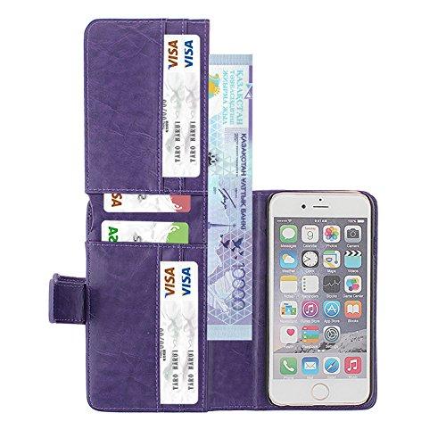 xhorizon MSH Housse pour iPhone6 Plus/6S Plus (5.5)avec Portefeuille intégré, Etui pour iPhone, coque de protection magnétique détachable en cuir avec de logement de carte, Folio Flip Wallet Case Cove Violet