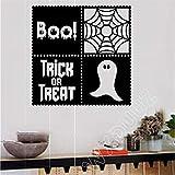 yaoxingfu Boo Dolcetto o Scherzetto Ghost Adesivo da Parete in Vinile Autunno Halloween Decor Nursery Cameretta per Bambini Adesivo da Parete Decorazioni per la casa WW-1 113x113cm