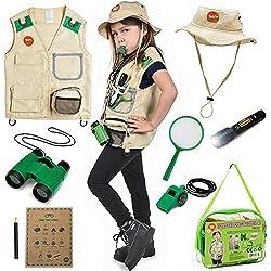 Born Toys Backyard Safari Chaleco y Gorro con el Kit Explorer para Actividades al Aire Libre, Naturaleza, guardaparques, Halloween, campamentos, excursiones, Stem y Ropa científica y Juegos de rol