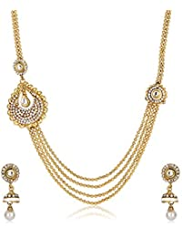 Shining Diva Gold Plated Traditional Necklace Set/Jewellery Set with Earrings for Girls and Women