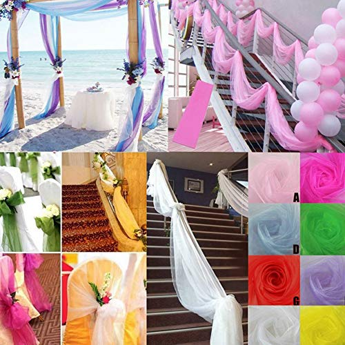 Colorful Modestoff universal Stoff 500cm x 48cm Organza Dekostoff Transparent - Hauch Zart - für Hochzeit Party Dekoration (Weiß) -