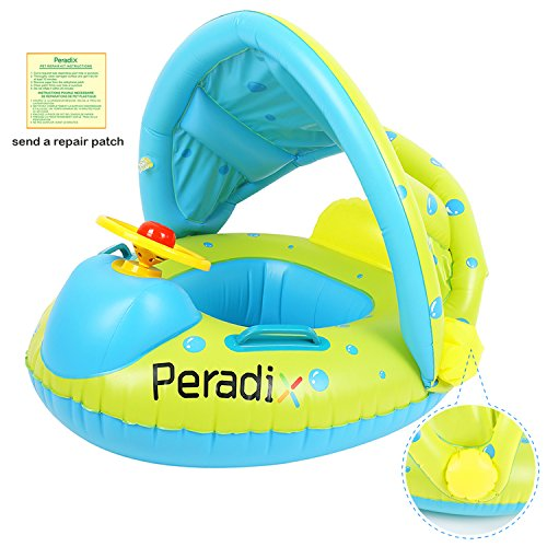 Peradix Bouée Siège Gonflable Piscine Gonflable Enfant Bébés 6 - 36 Mois Baignoire Piscine PVC Matériel Sécurité (Protection Contre Le Soleil-Bleu Vert) Manufacturer