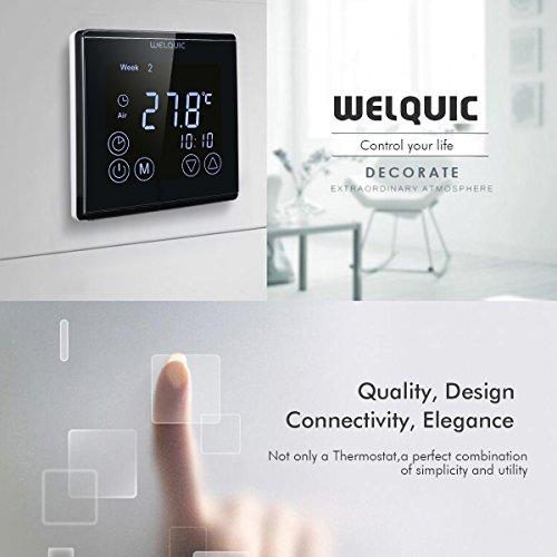 WELQUIC LCD Termostato de Calefacción Digital de Pared Pantalla Táctil Regulador de Temperatura Programable para Control Eléctrico del Actuador de la Válvula del Calentador, Negro(Unidades de 4)