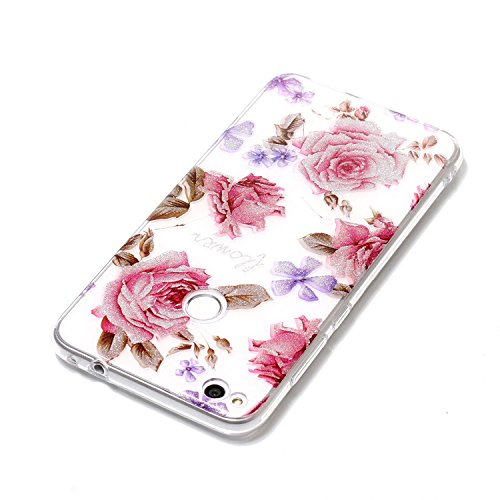 Transparent Coque pour Huawei P8 Lite 2017,Huawei P8 Lite 2017 Soft Silicone Tpu Coque Mode,Ekakashop Jolie Loup Campanula Design Ultra Slim-fit Antidérapant Coque de Protection Crystal Clair Souple G Rose