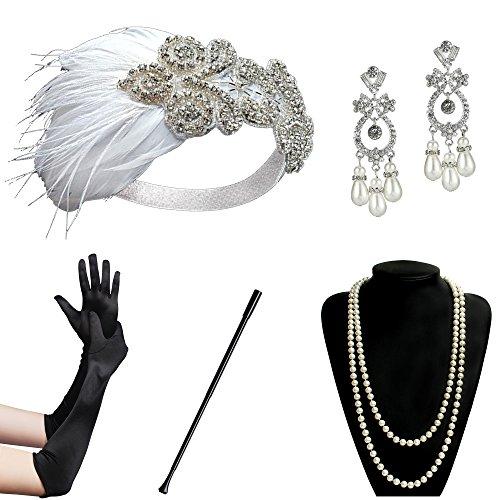 (ArtiDeco 1920s Flapper Set Damen Gatsby Kostüm Accessoires Set Inklusive Stirnband Halskette Handschuhe Ohrringe Zigarettenhalter (Set-3))