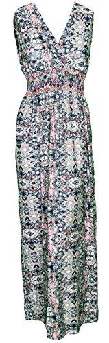 Mevina Damen Kleid Gipsy Hippie Ibiza Muster mit V-Ausschnitt lang Sommerkleid Multicolor süßes Urlaubskleid Modell 5 Modell 3