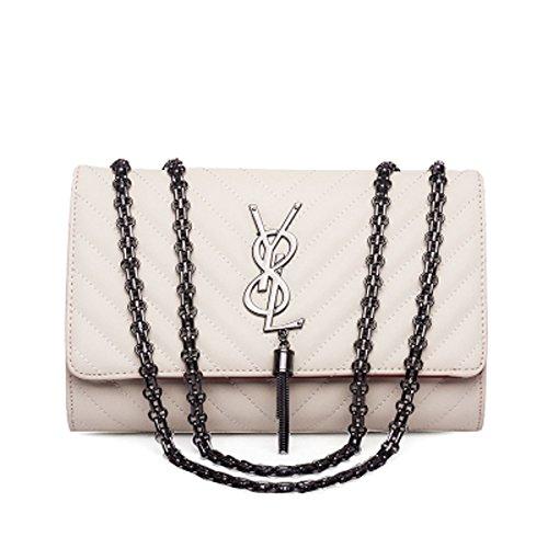 SHRJJ 2018 Mädchen Mode Eine Schulter Crossbody Kette V-Line Kleine Tasche Großer Raum Baby-Wickeltasche Für Frauen (Weiß (Y8L Logo-Leder), 26 * 7 * 17CM)