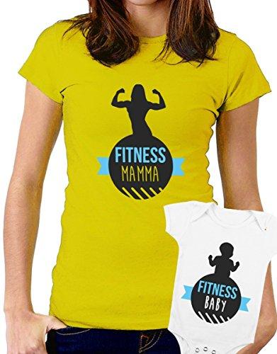 t-shirt e body festa della mamma - Fitness Mamma, Fitness baby, palestra, super mamma, love -tutte le taglie uomo donna maglietta by tshirteria giallo