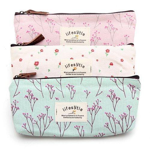 Bleistift Stift Fall Landschaft Blume Floral Leinwand Student Münzfach Tasche Kosmetik Make-up Bag Set 3Pack (Landschaft Bag)