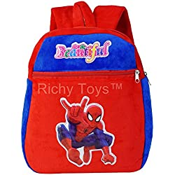 Richy Toys Kids Plush Soft Toys Backpack Cartoon Toy Children's Gifts Boy/Girl/Baby/Student Bags Decor School Bag For Kids (Spiderman)