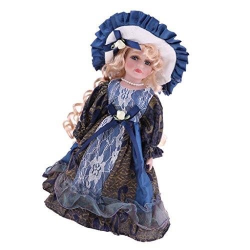 MagiDeal Elegante Mädchen Keramik Puppe im Kleid & Hut mit Holzständer Für Viktorianische Porzellanpuppen -