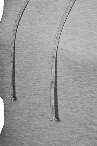 Tunique manches raglan de capuchon de poche kangourou pour femme Gris