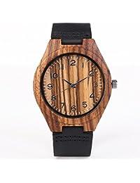 iMing nuevo Relojes de Hecho a mano de madera natural de grano de madera cuero genuino banda relojes regalos