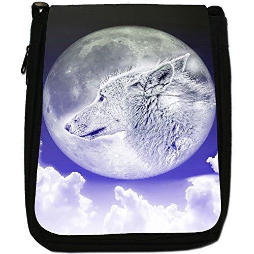 Lupo e luna Medium Nero Borsa In Tela, taglia M Moonlight Wolf - Blue