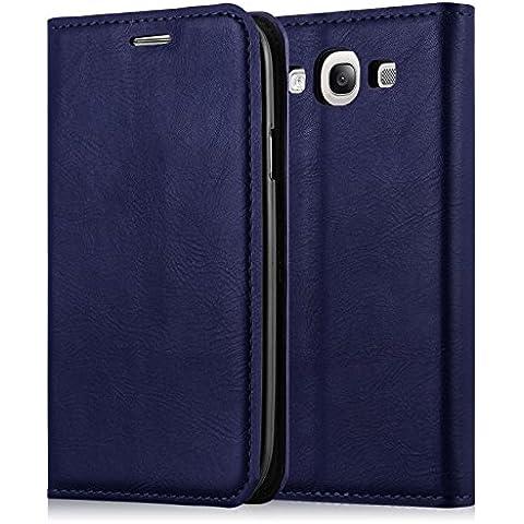 JAMMYLIZARD | Funda De Piel Swiss Wallet Para Samsung Galaxy S3 / S3 Neo Tipo Cartera Con Apoyo, AZUL