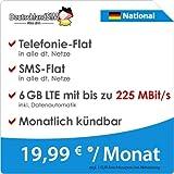 DeutschlandSIM LTE 6000 National [SIM, Micro-SIM und Nano-SIM] monatlich kündbar (6 GB LTE mit max. 225 MBit/s inkl. Datenautomatik, Telefonie-Flat, SMS-Flat, 19,99 Euro/Monat) preiswert