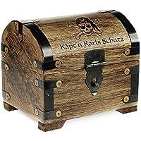 Preisvergleich für Geld-Schatztruhe mit Gravur – Piratenschatz – Personalisiert mit Namen - Farbe Dunkel - Bauernkasse - Schmuckkästchen - Aufbewahrungsbox aus Holz - lustige Geburtstagsgeschenk-Idee - 14 x 11 x 13 cm