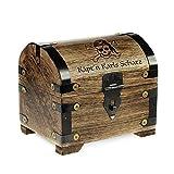 Geld-Schatztruhe mit Gravur – Piratenschatz – Personalisiert mit Namen - Farbe Dunkel - Bauernkasse - Schmuckkästchen - Aufbewahrungsbox aus Holz - lustige Geburtstagsgeschenk-Idee - 14 x 11 x 13 cm