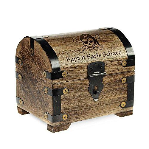 Preisvergleich Produktbild Geld-Schatztruhe mit Gravur – Piratenschatz – Personalisiert mit Namen - Farbe Dunkel - Bauernkasse - Schmuckkästchen - Aufbewahrungsbox aus Holz - lustige Geburtstagsgeschenk-Idee - 14 x 11 x 13 cm