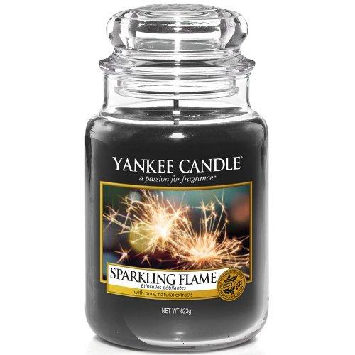 YANKEE CANDLE Funkelnde Flamme, Kerze, Glas, Schwarz, 10,7 x 10,7 cm