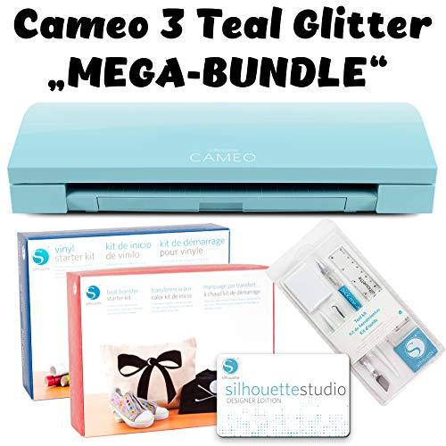 Silhouette Cameo 3 Schneideplotter Teal Glitter mit Kit-Vinyl, Kit-Heat-Trans, Silhouette Studio Designer Edition und Tool-Kit