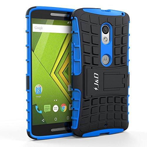 J & D Moto X Play Hülle, [Standfuß] [Doppelschicht] [Heavy-Duty-Schutz] Genaue Passform Hybride Stoßfest Schutzhülle für Motorola Moto X Play - Blau