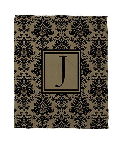 Manuelle holzverarbeiter & Weavers Bettbezug-, Monogramm Buchstabe J, Schwarz und Gold Damast (King-size-bett Gerahmt)