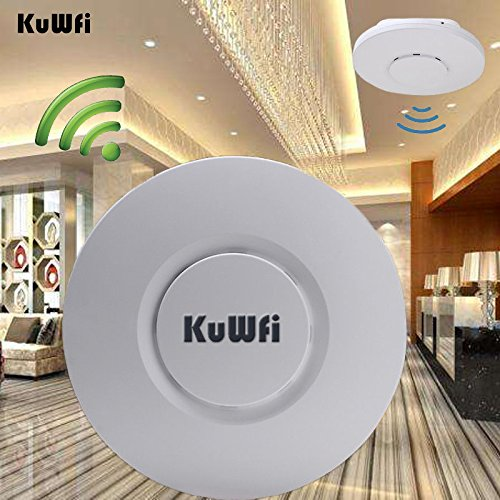 KuWFi WLAN-Repeater, 300Mbps Wifi Repeater Wireless Decke AP Für Hotel Indoor AP 24V Poe Adapter Für Hotel/Restaurant