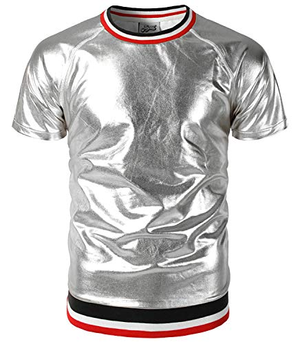 WHATLEES Herren Party Fasching Metallisch Bronzing Silber Hemden mit sportlicher Rippung Karneval Fastnacht BA0134-white-XL (Team Halloween-kostüm Usa)