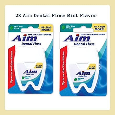 2X Aim Dental Floss Dental Care Mint Wax Floss 100 & 20 Extra Yards Mint Flavor New by Aim Dental Floss