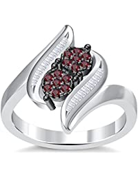 Silvernshine 3.5Ct Round Cut Sim Red Garnet Diamonds 14K White Gold Plated Engagement&Wedding Ring