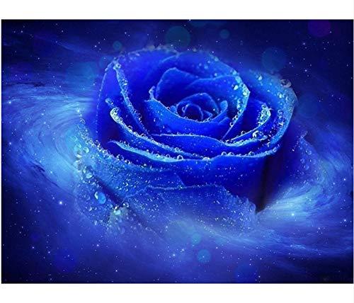 JINLXG Neuheiten 5D Diamant Malerei Blume Platz Voller Diamant Blau 5D Rose Diamant Stickerei Harz Bohrer 40X50 cm Rahmenlose