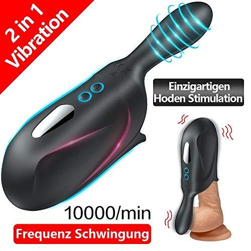 Elektrische Cup Masturbatoren für Penistraining mit Dual Motors. Orlupo Oral Sexspielzeug Masturbieren Mann für Männer Penis & Hoden Stimulation mit 10 Mächtig Vibrationsmodi für Längere Sexuelle Zeit