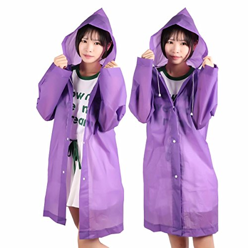 TiaoBug Raincoat EVA Rainsuit Waterproof Poncho Environmental Children Raincoat for Travel Outdoor Pack of 2