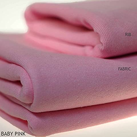 Sweatshirt Fabric for Hoodies, Dressmaking, Craft. 17 colours. European Schools Approved and Tested, Brushed Back. Great performance, natural stretch - Baby Pink, 1 Metre