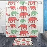 JSTEL Elefanten-Design, 3-teiliges Set, waschbar, für den täglichen Gebrauch, wasserdicht, Duschvorhang, 12Haken, Anti-Rutsch-Teppich, 60x 90cm
