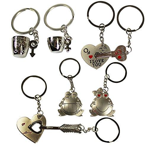 COM-FOUR® 8-teiliges Metall Schlüsselanhänger Set für Verliebte - Zeigen Sie, dass sie zusammen gehören! (08-teilig - Love)