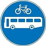 Busse und Zyklen nur Road Safety Sign Schild aus Aluminium–3mm mit 2Streifen Ausgestattet zu hinten für die Montage auf Post 600mm x 600mm