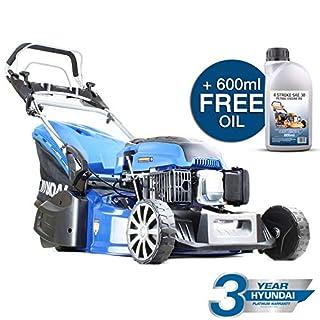 Hyundai HYM480SPR 139cc Petrol Lawnmowers Self Propelled 19 Inch 48 Centimetre Cutting Width Rear Roller Mower, Steel Deck, Included Engine Oil