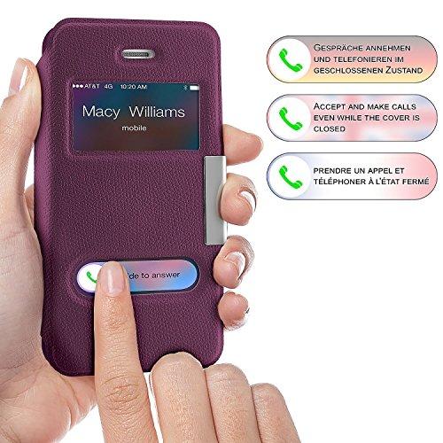 iPhone 4S Hülle Weiß mit Sicht-Fenster [OneFlow Window Cover] Schutzhülle Ultra-Slim Handyhülle für iPhone 4/4S Case Flip Handy-Tasche Stand-Funktion LILA