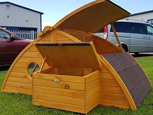 Hühnerstall Hühnerhaus Cocoon Hühnerstall sehr gross für 6 Vögel oder 10 Wachteln, abnehmbares Dach für einfachere Reinigung, mit Lüftungslöchern, mit stabilem Nistkasten, grosser Lebensraum und 210cm Lang inklusive Nistkasten - mehr als 130cm hoch - 3